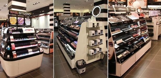 Expositores com maquiagens e esmaltes no interior da primeira loja da Sephora no Brasil, no shopping JK Iguatemi, em São Paulo - Divulgação