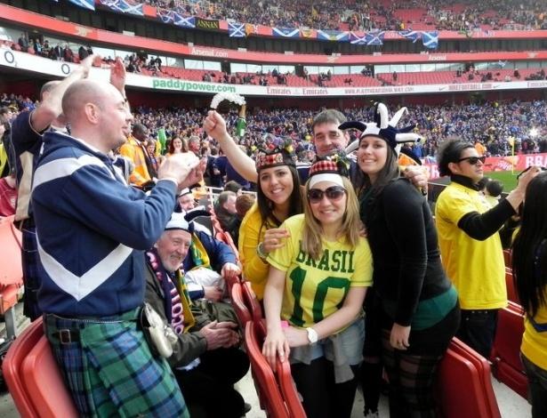 Natália Faleiros em um jogo entre Brasil e Escócia.