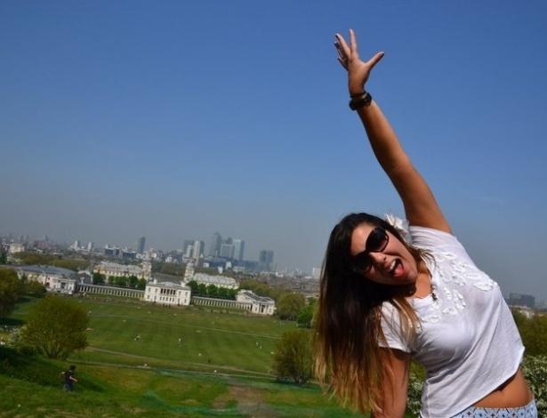 Natália Faleiros em Greenwich, na Inglaterra