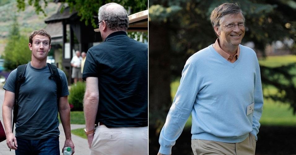 12.julho.2012 - Mark Zuckerberg, diretor-executivo do Facebook, e Bill Gates, cofundador da Microsoft, participam da conferência anual Sun Valley, realizada em Sun Valley(Idaho)