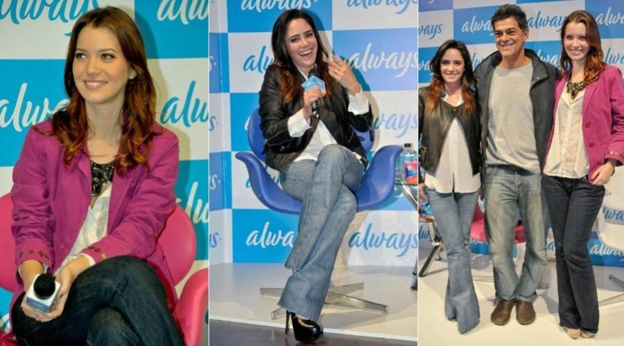 Nathalia Dill, Fernanda Vasconcellos e Eduardo Moscovis vão a evento de marca de absorvente feminino em São Paulo (12/7/2012)
