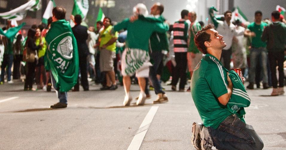 Torcedores se juntaram na Avenida Paulista, tradicional ponto de comemoração dos torcedores