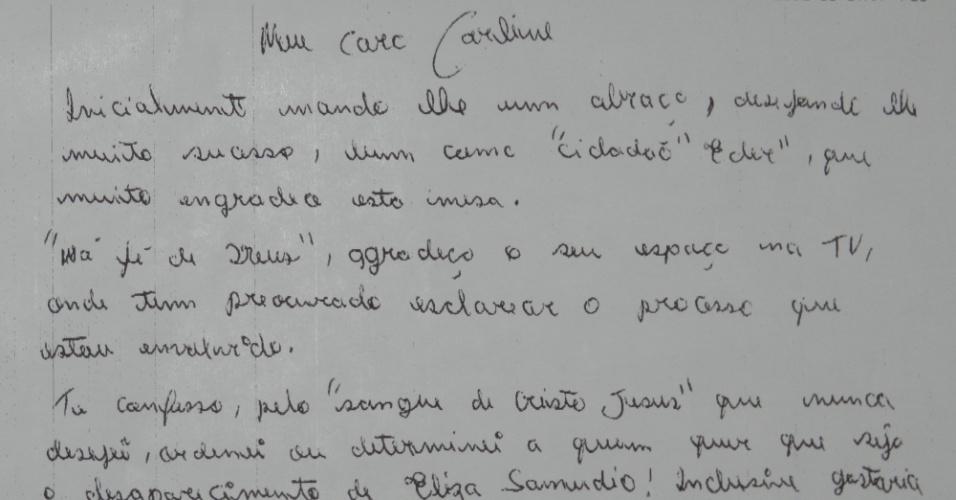13.jul.2012 - Foto mostra a carta enviada pelo goleiro Bruno Souza a um programa de TV local. Por causa da carta, Bruno foi punido pela administração da penitenciária de segurança máxima de Contagem (MG), onde está preso