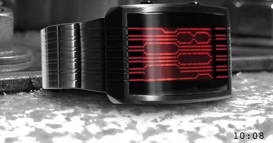 14.7.2012 - Se você não gosta de compartilhar o horário que aparece no seu relógio com o olhar curioso alheio, o Kisai Online LCD Watch pode ajudar (sim, isso é uma ironia). Demora para você se acostumar com o jeito que os números são apresentados na tela. E só quando você gira o pulso para olhar as horas é que o visor LCD mostra o horário. Conseguiu ver que são 10:08? Da Tokyo Flash, US$ 149