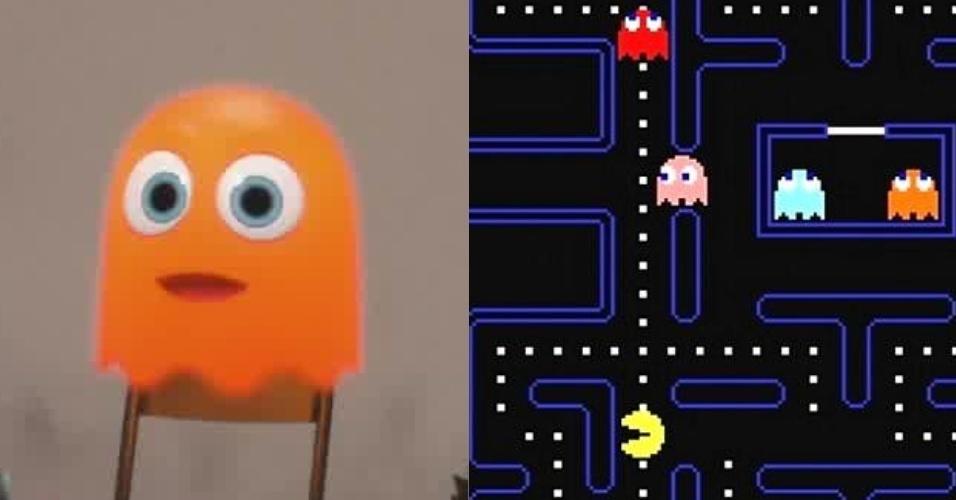 """O Fantasminha laranja é facilmente reconhecido no clássico de fliperamas """"Pac-Man"""""""