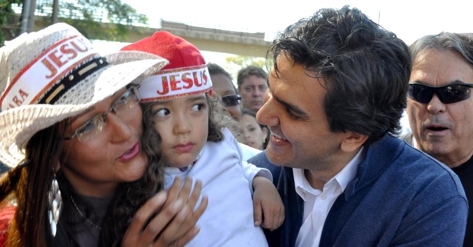 14.jul.2012 - O candidato à Prefeitura de São Paulo, Gabriel Chalita (PMDB), é visto durante a Marcha para Jesus