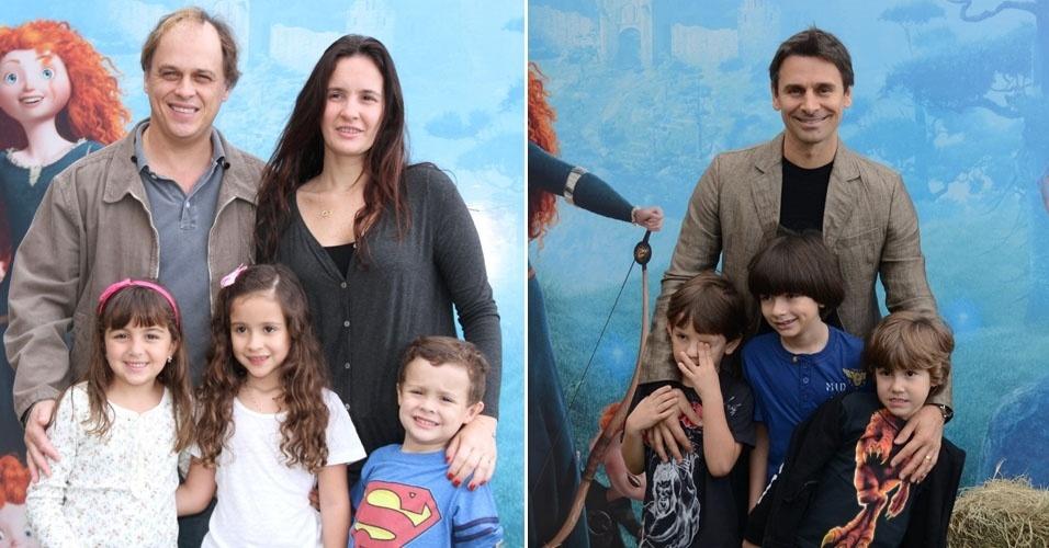 """O ator Guliherme Fontes (foto à esq)  e Murilo Rosa (foto à dir) levam os filhos na pré-estreia da animação """"Valente"""", no Leblon, Rio de Janeiro (14/7/12)"""
