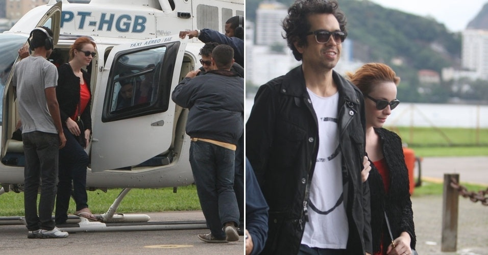 """A atriz Christina Hendrix fez um voo de helicóptero com o marido e mais dois meninos no Rio de Janeiro. A atriz de 37 anos é casada com o ator Geoffrey Arend, de """"(500) Dias com Ela"""" (15/7/12)"""