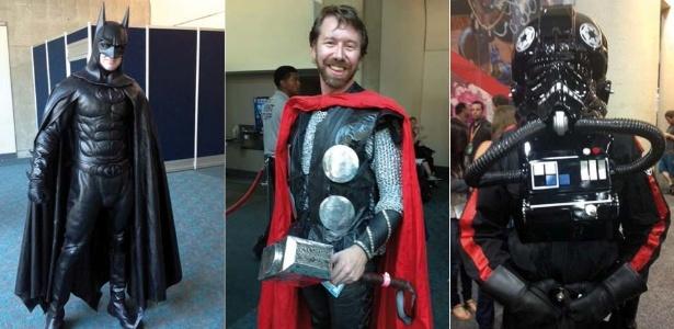 Da esq. para a direita, os cosplayers Cory Forson (de Batman), Livian e Adam, que gastaram milhares de dólares em suas fantasias,na San Diego Comic-Con (14/7/12) - Estéfani Medeiros/UOL