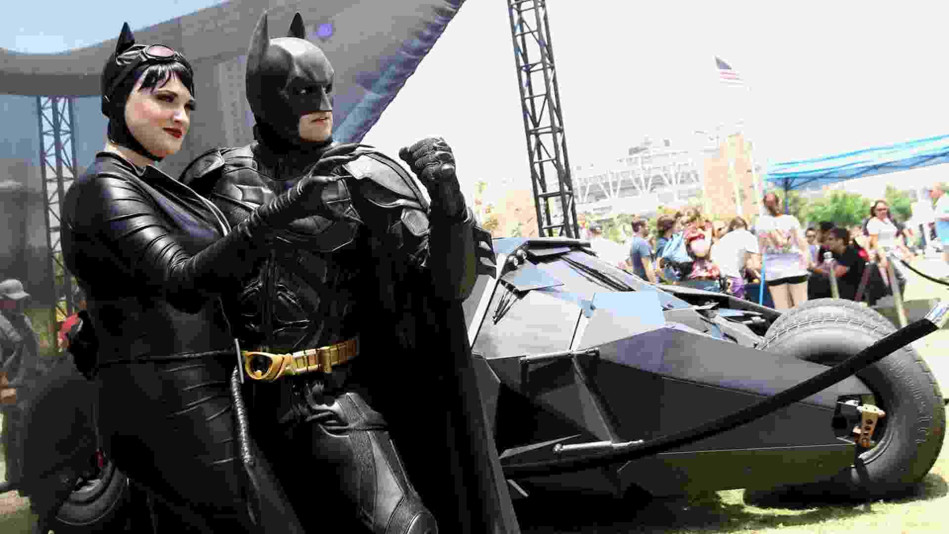 Fãs se vestem como os personagens do HQ Batman no terceiro dia da Comic-Con (14/7/12) - Frazer Harrison/Getty Images/AFP