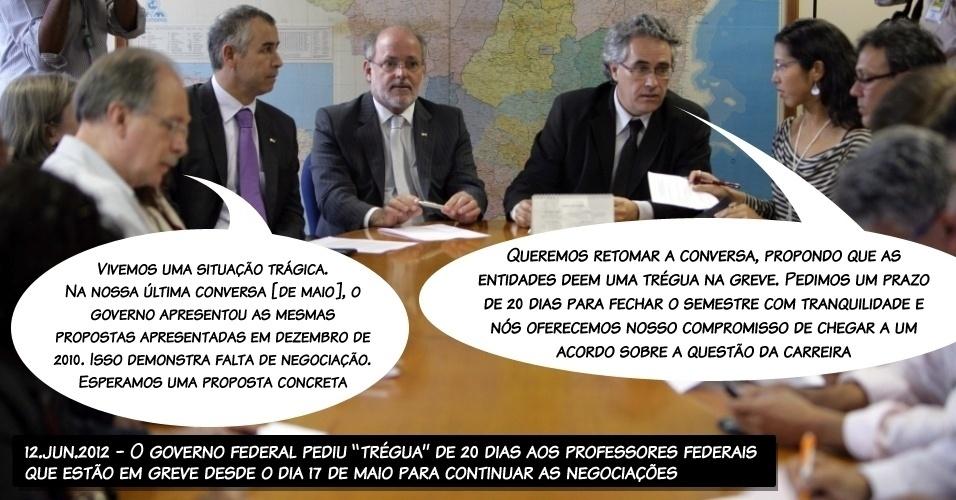 """12.jun.2012 - O governo federal pediu """"trégua"""" de 20 dias aos professores federais que estão em greve desde o dia 17 de maio para continuar as negociações"""