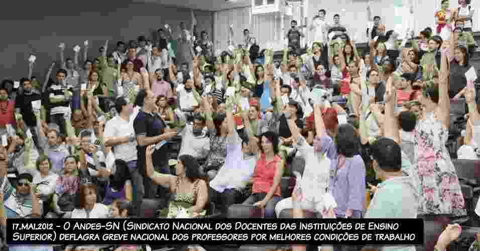 17.mai.2012 - O Andes-SN (Sindicato Nacional dos Docentes das Instituições de Ensino Superior) deflagra greve nacional dos professores por melhores condições de trabalho - Ronaldo Santos/FotoArena/AE