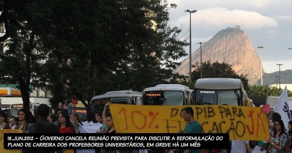 18.jun.2012 - Governo cancela reunião prevista para discutir a reformulação do plano de carreira dos professores universitários, em greve há um mês.