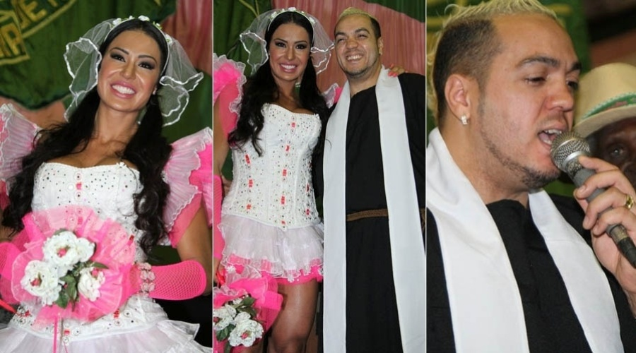 Belo e Gracyanne vestem-se de padre e noiva em festa junina (14/7/2012)