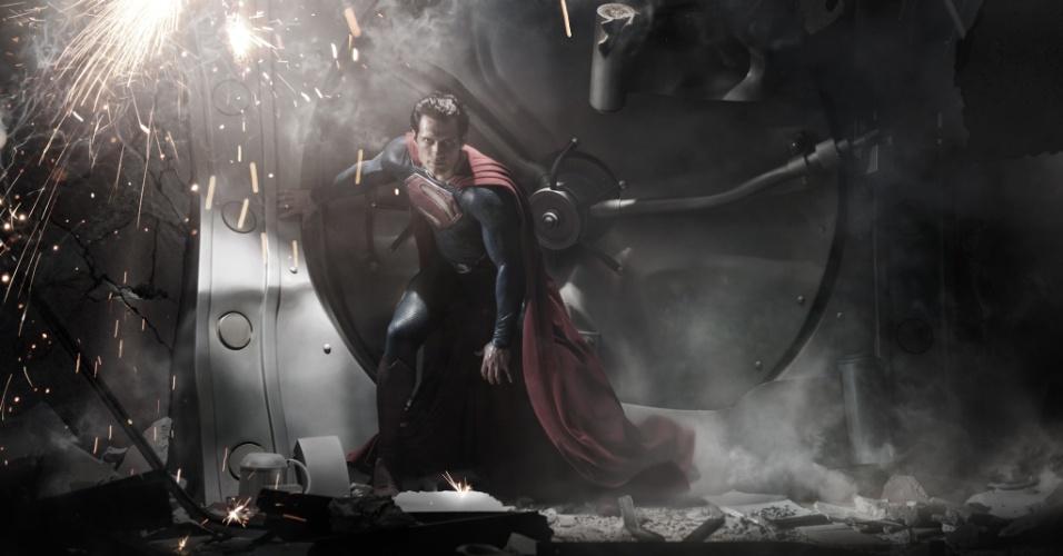 Henry Cavill aparece vestido de Superman em novas imagens de