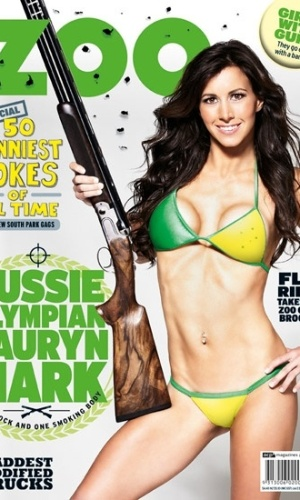 Lauryn Mark de biquini na capa de uma revista masculina australiana