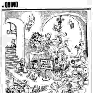 """O trabalho de Quino se destaca por usar o humor para denunciar guerra, preconceito e conflitos sociais. """"Repare que de Adão e Eva saiu um filho assassino. Logo, de quatro pessoas que havia no mundo, 25% era um delinquente"""" - Divulgação"""
