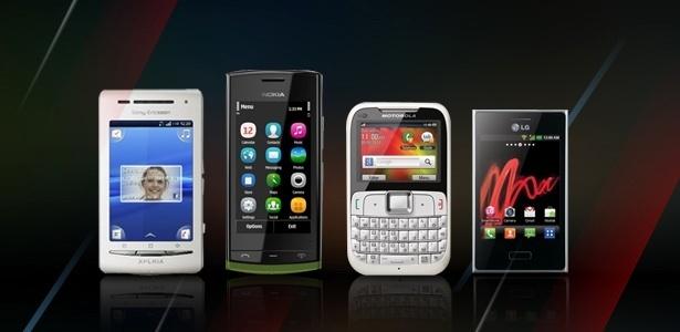 Da esquerda para a direita: Sony Ericsson Xperia X8, Nokia 500, Motorola Motogo! e LG Optimus L3