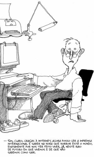 """Tímido confesso, costuma fugir de entrevistas sempre que possível. Quando as concede não raro dá respostas dignas da própria Mafalda. Quando inquirido sobre sua saúde em uma entrevista disse que estava """"mais ou menos"""": """"Bem, de mais estão os anos... De menos, a juventude"""""""