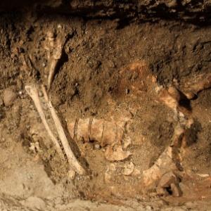Esqueleto humano é encontrado na escavação de uma vala no interior de Florença, na Itália, durante pesquisa no local do enterro de Lisa Gherardini, a modelo que Leonardo da Vinci teria usado para pintar a Mona Lisa (17/7/12)  - Claudio Giovannini/AFP