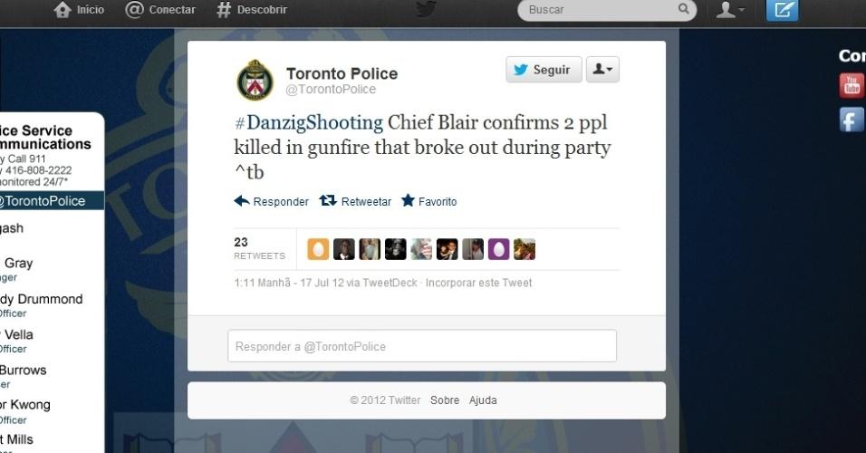17.jul.2012 - Polícia de Toronto, no Canadá, confirma pelo Twitter a morte de duas pessoas em tiroteio nesta terça-feira (17)