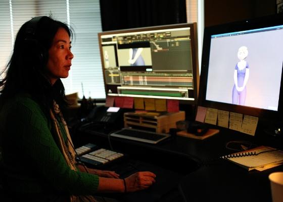 """A animadora brasileira Nancy Kato trabalha nos movimentos da personagem Mérida, de """"Valente"""", produção da Disney/Pixar  - Divulgação"""