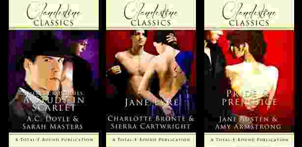 """Capas das versões eróticas dos livros """"Um Estudo em Vermelho"""", """"Jane Eyre"""" e """"Orgulho e Preconceito"""" - Divulgação"""