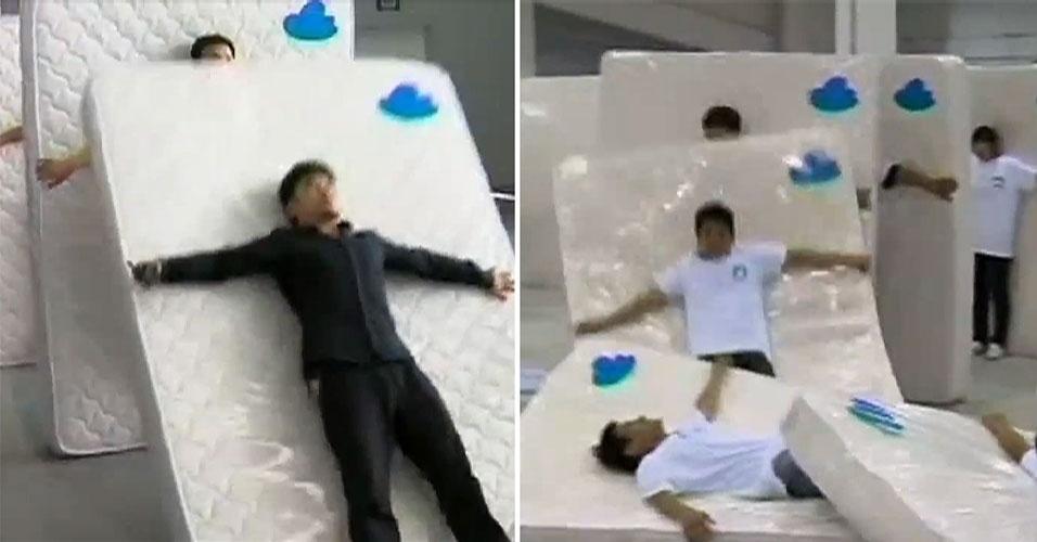 Chineses batem recorde mundial de maior dominó humano com colchões