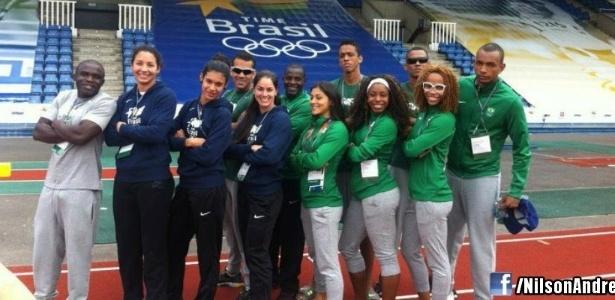 Equipes masculina e feminina do revezamento 4x100 brasileiro fazem reconhecimento de pista de treinamento em Crystal Palace
