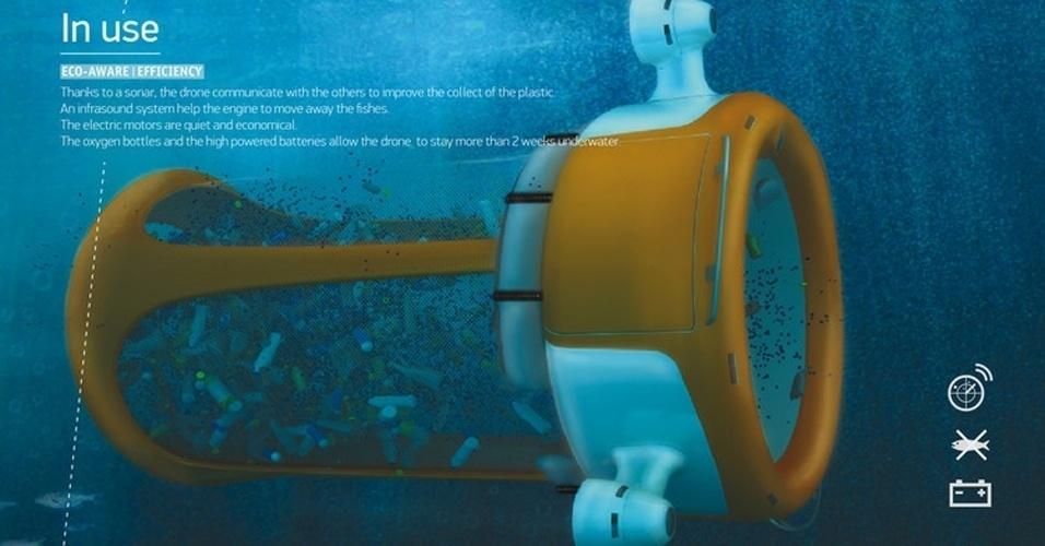 18.jul.2012 - Acabar com o lixo no fundo do mar é a ideia por trás do conceito da Marine Drone. Segundo o site Co.EXIST, a máquina é inspirada em outros robôs que já usados para limpar vazamentos no oceanos. Com uma cesta gigante e três hélices movidas a bateria, quando o aparelho é preenchido com lixo, ele retorna até o ponto de encontro e todo o material é colocado em um navio para reciclagem. Para evitar capturar peixes, a máquina emitiria ruídos para manter os animais distantes