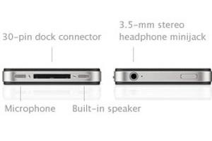 Diversos acessórios são compatíveis com o atual padrão de conector do iPhone, à esquerda