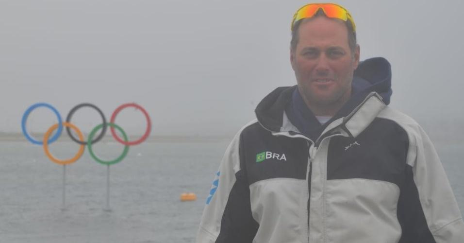 Velejador Bruno Prada tira foto mostrando como estava o tempo em Weymouth, local aonde vão acontecer as provas de vela nos Jogos Olímpicos