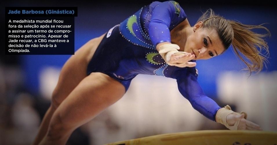 A ginasta brasileira Jade Barbosa perdeu vaga em Londres após se recusar a assinar termo de compromisso sobre uso de uniformes e marcas nos Jogos