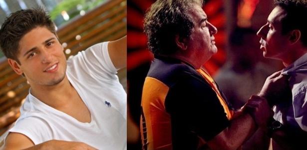 """Ator Daniel Rocha, que vive Roni, e cena em que empresário rejeita """"jogador diferente"""" - Pedro Paulo Figueiredo/Agencia Z noticias e Reprodução"""