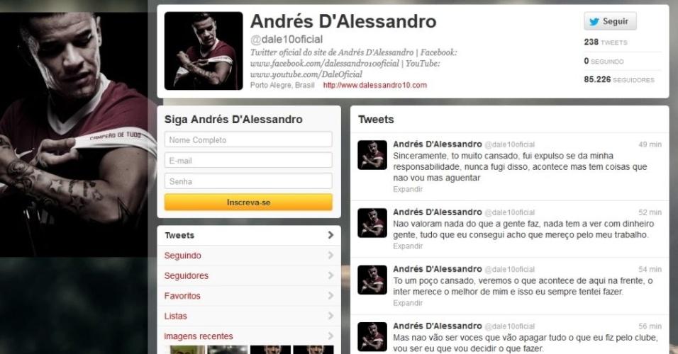 D'Alessandro usou o Twitter para rebater críticas de alguns torcedores e se disse cansado
