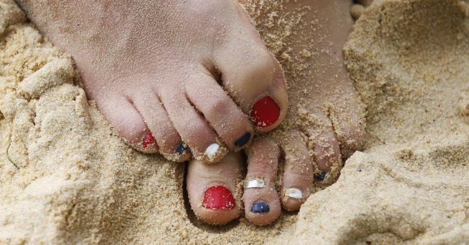 Shauna Mullin, do vôlei de praia da Grã-Bretanha, também pintou as unhas dos pés