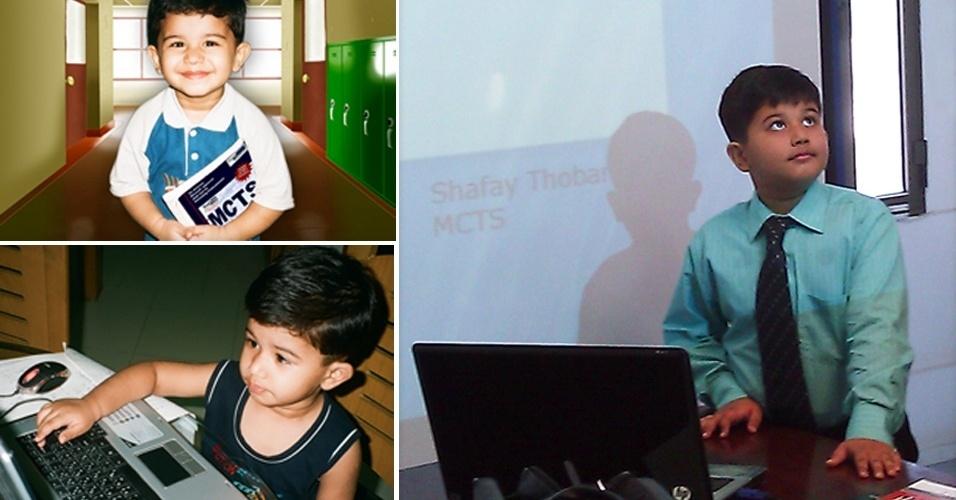 20.jul.2012 - Shafay Thobani, 8, é uma das crianças mais jovens do mundo a receber o título de especialista em tecnologia pela Microsoft. Segundo o site oficial do menino paquistanês, desde os quatro de idade Shafay mexe com computadores. Quando chegou aos 7, ele começou a treinar para o exame de certificação da Microsoft. Durante um ano, ele ia à escola normal de manhã e à tarde seu pai, CEO da Thobson Technologies, treinava o filho. Ele acertou 91% da prova da Microsoft