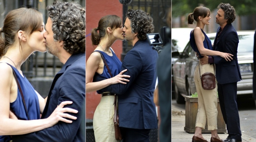 "Keira Knightley e Mark Ruffalo gravaram cenas do filme ""Can A Song Save Your Life?"" em Nova York (10/7/12)"
