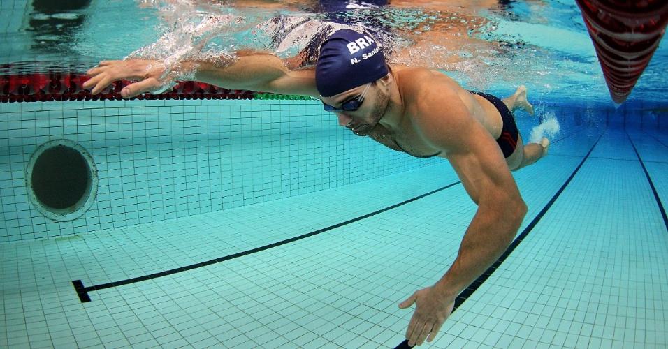 Nadador brasileiro Nicholas Santos durante treino da seleção em Crystal Palace