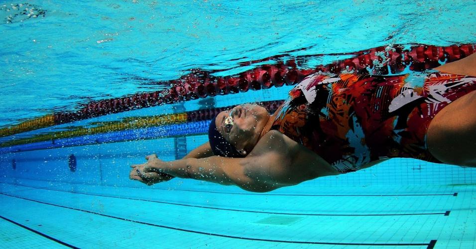 Nadadora brasileira Joanna Maranhão durante treino da seleção brasileira em Crystal Palace