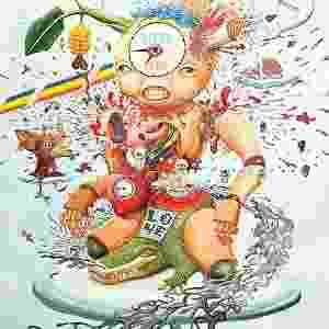 """As ilustrações de Poom Pechavanish tem traços psicodélicos, com formas humanoides abstratas. Essa se chama Pitiful Puppet, """"Fantoche Coitadinho"""" em tradução livre - Poom Pechavanish/Divulgação"""