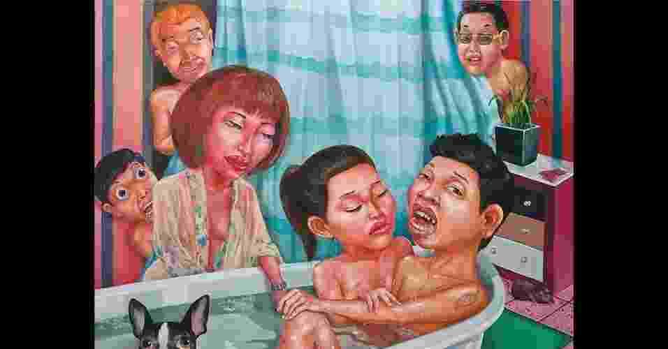 """As imagens de Anon Lulitananda retratam o cotidiano da sociedade tailandesa. Na pintura intitulada """"Queue up"""", ou """"espere na fila"""", ele debocha da superlotação dos bordéis - Anon Lulitananda/Divulgação"""