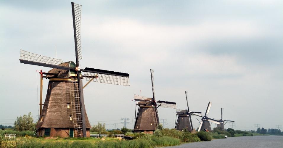 Moinhos na cidade de Kinderdijk