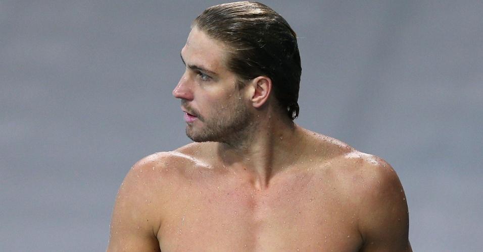 Rhys Howden, membro da equipe australiana de polo aquático da Austrália, sai da piscina após treino na arena do parque olímpico (23/07/2012)