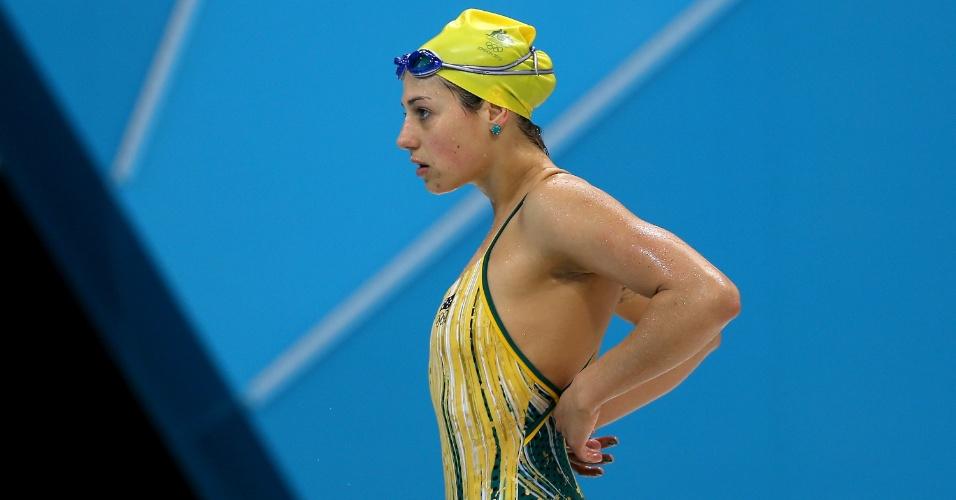 Stephanie Rice, nadadora australiana, durante treinos na Inglaterra para os Jogos Olímpicos