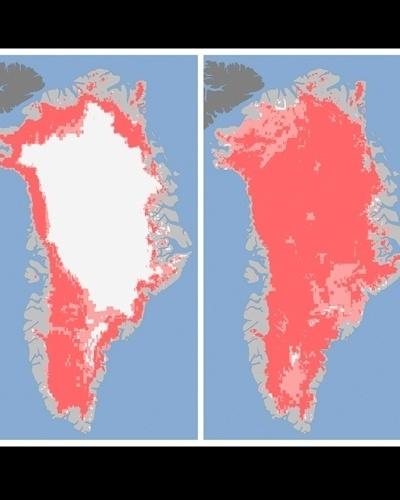 24.jul.2012 - A imagem, divulgada pela Nasa (agência espacial americana), mostra o derretimento do gelo na Groenlândia. Na imagem, as áreas em rosa escuro foram classificadas como locais que já tiveram o gelo derretido, enquanto os locais em rosa claro podem passar por esse processo