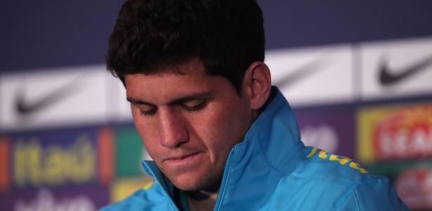 Abatido, Rafael participou da entrevista coletiva para anunciar o seu corte da seleção olímpica