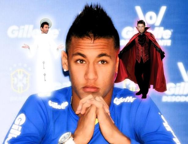 """Entre o """"bem e o mal"""", montagem coloca Neymar em dúvida entre Real Madrid e Barcelona"""