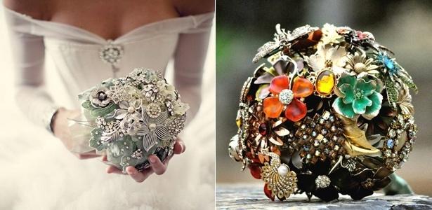 Buquês feitos de broches ainda servem de passatempo para as noivas mais aplicadas