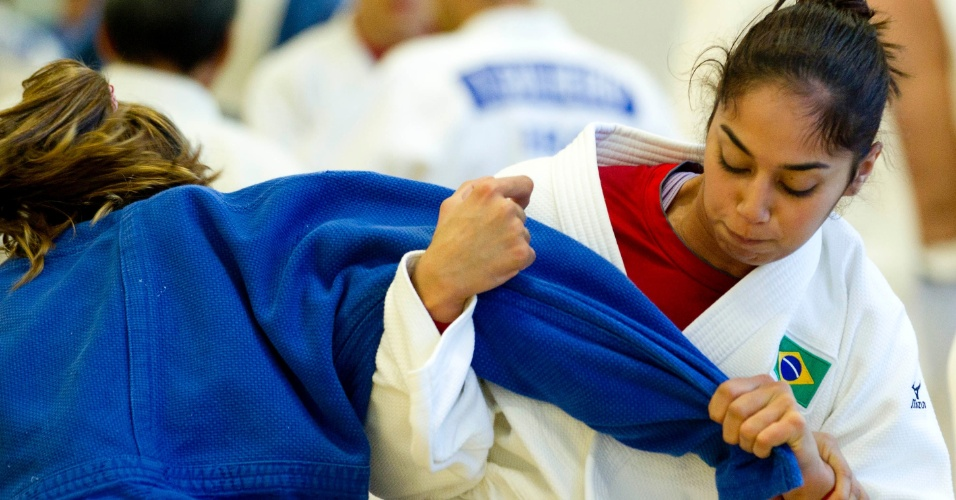 Judoca brasileira Mariana Silva durante treinamento para os Jogos Olímpicos de Londres